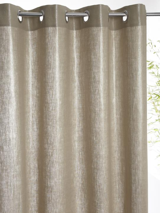 Home-Decoration-Curtains-LINED METALLIC LINEN CURTAIN WITH EYELET HEADER