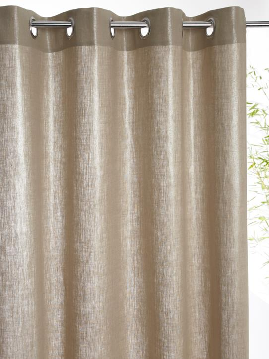 Home-Decoration-Curtains-METALLIC LINEN CURTAIN WITH EYELET HEADER