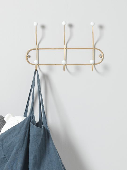 Babies-GOLDEN WALL HOOK WITH WHITE BALLS