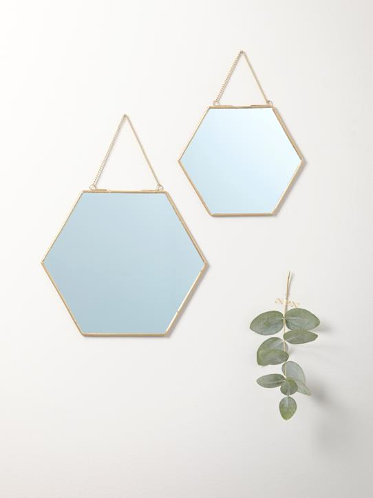 Home-SET OF 2 GOLD-COLOURED MIRRORS